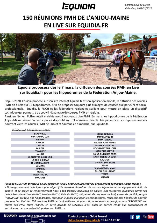 Equidia diffusera sur internet 150 réunions PMH de l'Anjou-Maine en 2021